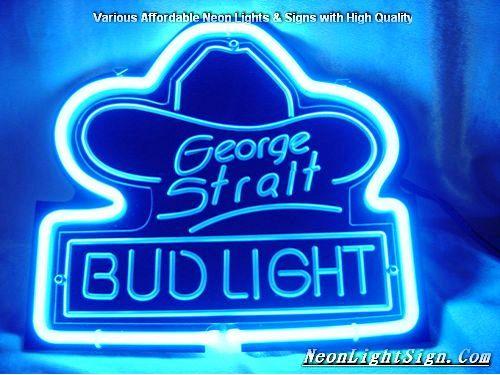 George Strait Bud Light 3D Beer Bar Neon Light Sig - Beer