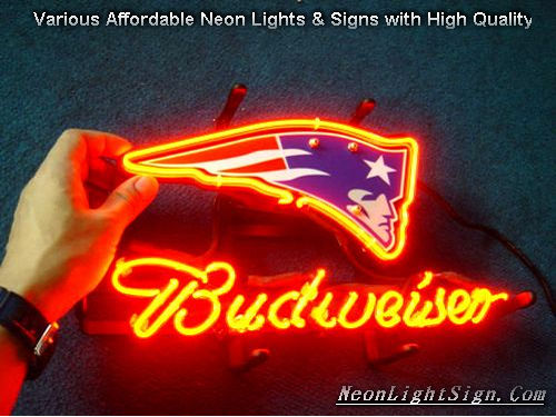 NFL England Patriots Budweiser Beer Bar Neon Light Sign