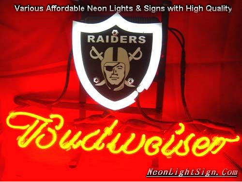 NFL Oakland Raiders Budweiser Beer Bar Neon Light Sign