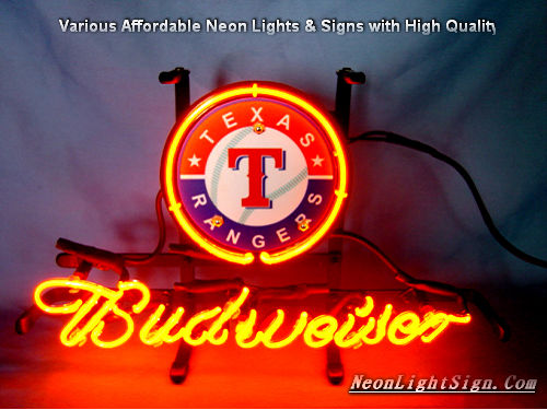 MLB Texas Rangers Budweiser Beer Bar Neon Light Sign