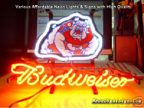 NCAA Fresno State Bulldogs Budweiser Beer Bar Neon Light Sign