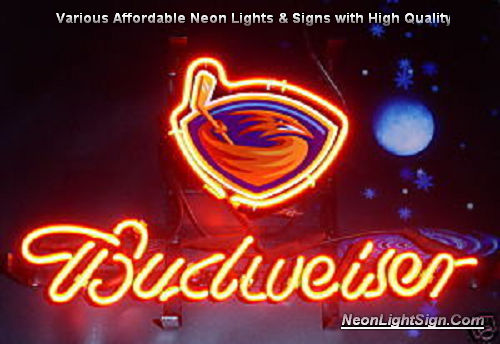 NHL Atlanta Thrashers Budweiser Beer Bar Neon Light Sign