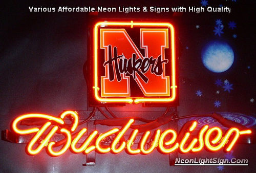 NFL NEBRASKA HUSKERS Budweiser Beer Bar Neon Light Sign