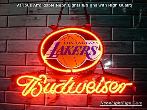 NBA Los Angeles Lakers Budweiser Beer Bar Neon Light Sign
