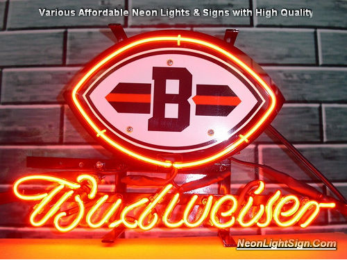 NHL Budweiser Cleverland Browns Budweiser Beer Bar Neon Light Sign