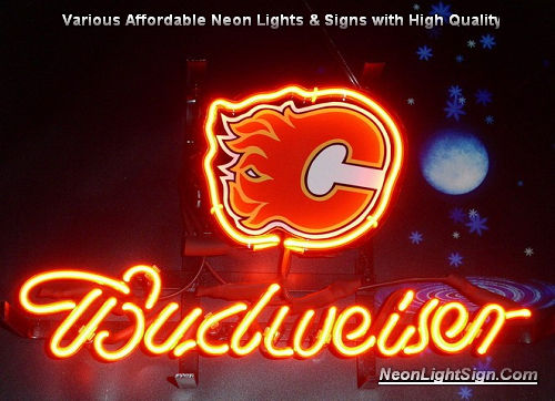 NHL CALGARY FLAMES Budweiser Beer Bar Neon Light Sign