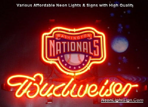 MLB Washington Nationals Budweiser Beer Bar Neon Light Sign