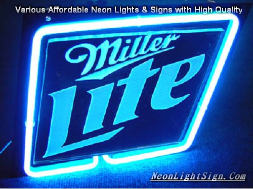 MILLER LITE 3D Beer Neon Light Sign - Beer Bar Neon Signs