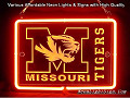 NCAA Missouri TIGERS 3D Beer Bar Neon Light Sign