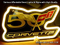 Corvette 50th Years LOGO Anniversary 3D Beer Bar Neon Light Sign